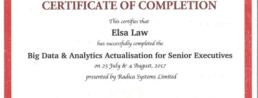 Our Ms. Elsa Law has completed Big Data & Analytics Actualization for Senior Executives